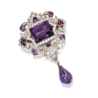 "Amethyst pendant. Tiffany, circa 1900. ""The special and traditional virtue of the amethyst was the cure of drunkeness"" — George Frederick Kunz, in his 1913 book THE CURIOUS LORE OF PRECIOUS STONES"