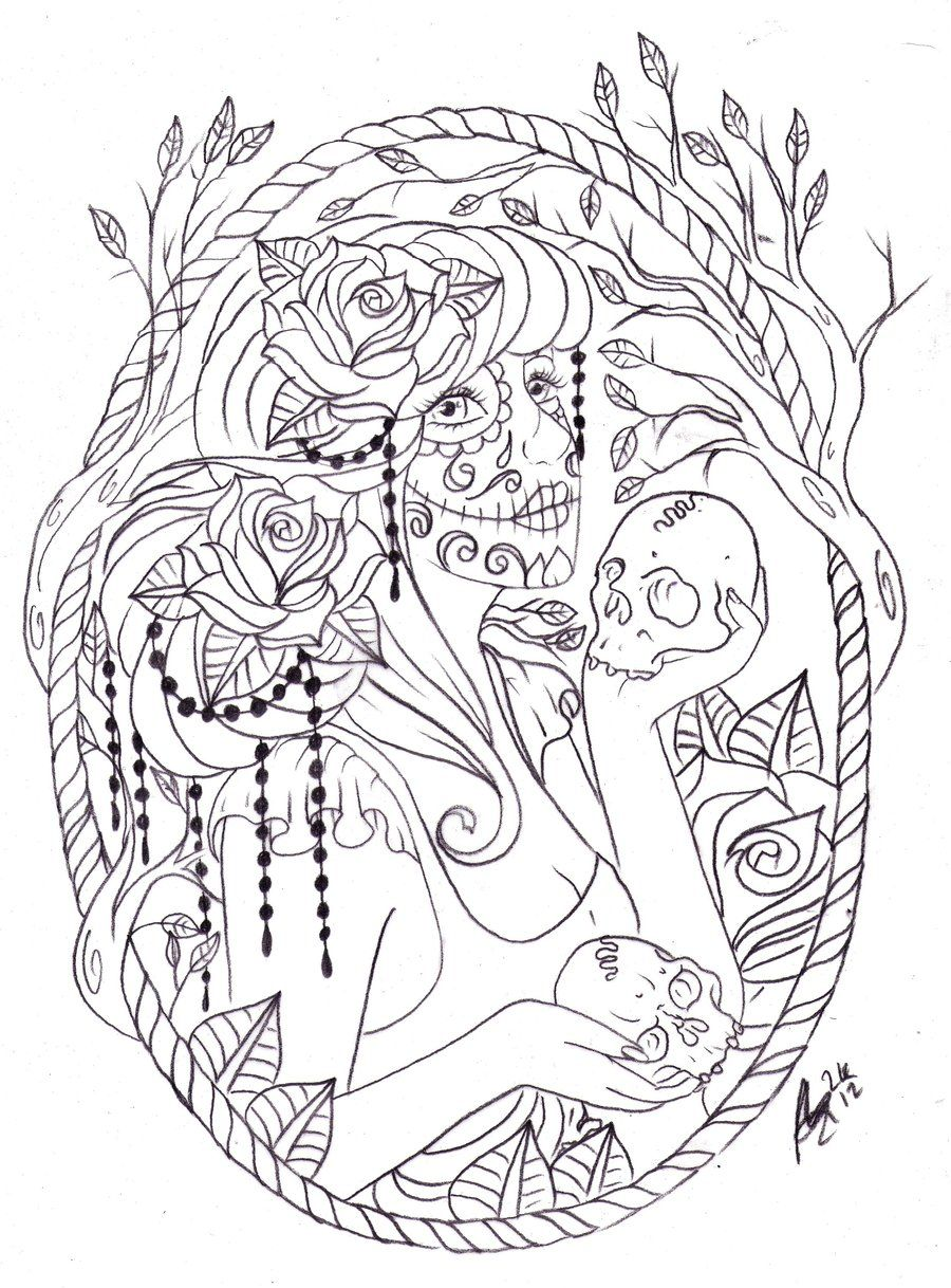day of the dead frame by nevermore ink deviantart com on