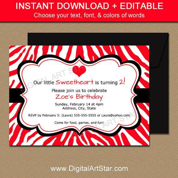 Printable Red Zebra Valentines Day Invitations with Editable Text - valentines day invitations