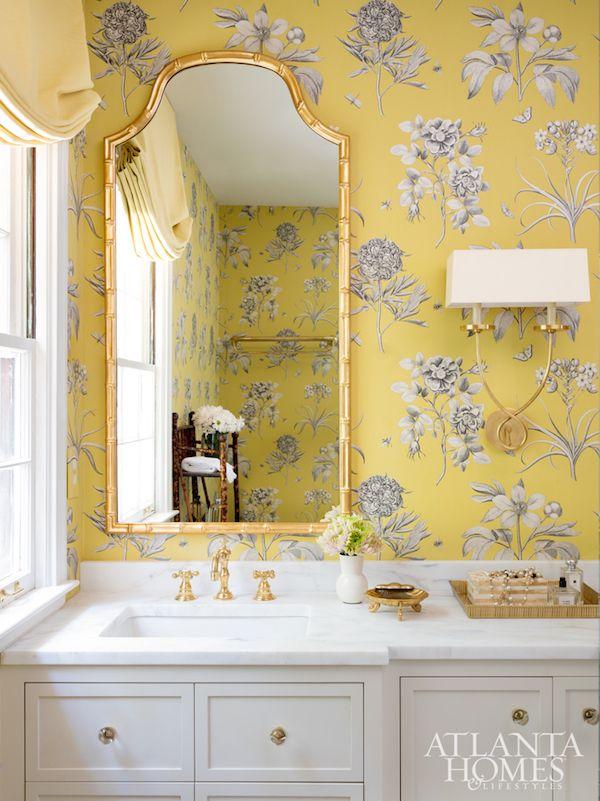 Home Tour Elevated Charm In Buckhead Georgia Bathroom Wallpaper Bamboo Mirror Yellow Bathrooms