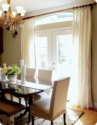 Dining room window treatments -  absolutely love the chair slipcovers too