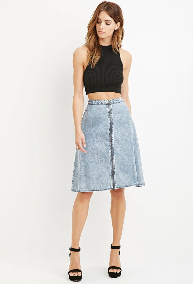 Contemporary Mineral Wash A-Line Skirt