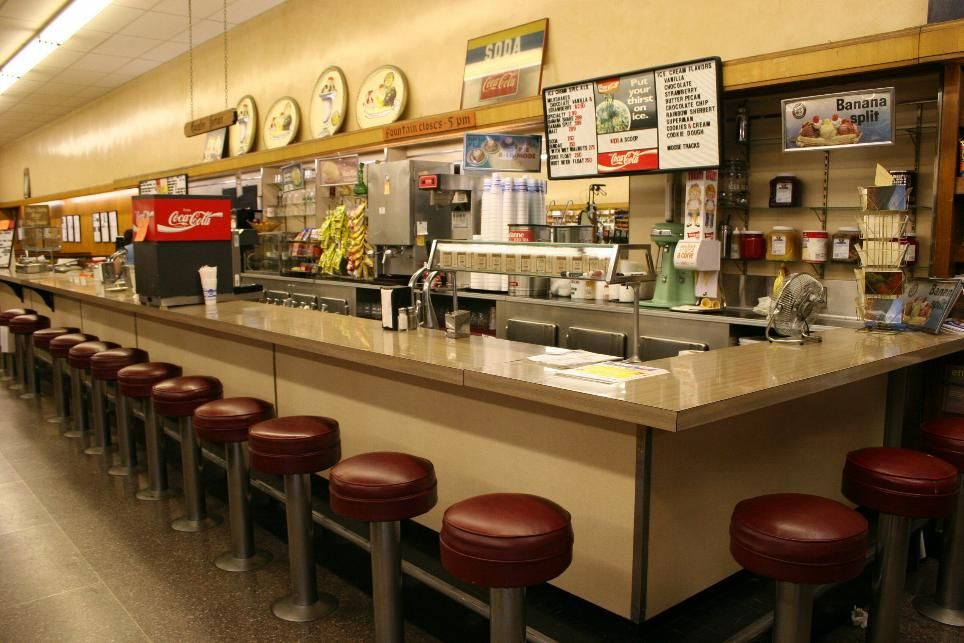 photos of old drug stores | Old lunch counter, complete with stools ...