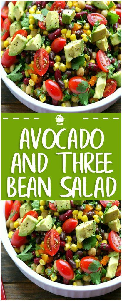 Avocado And Three Bean Salad Home Family Recipes Bean Salad Recipes Garbanzo Beans Salad Beans Recipe Healthy