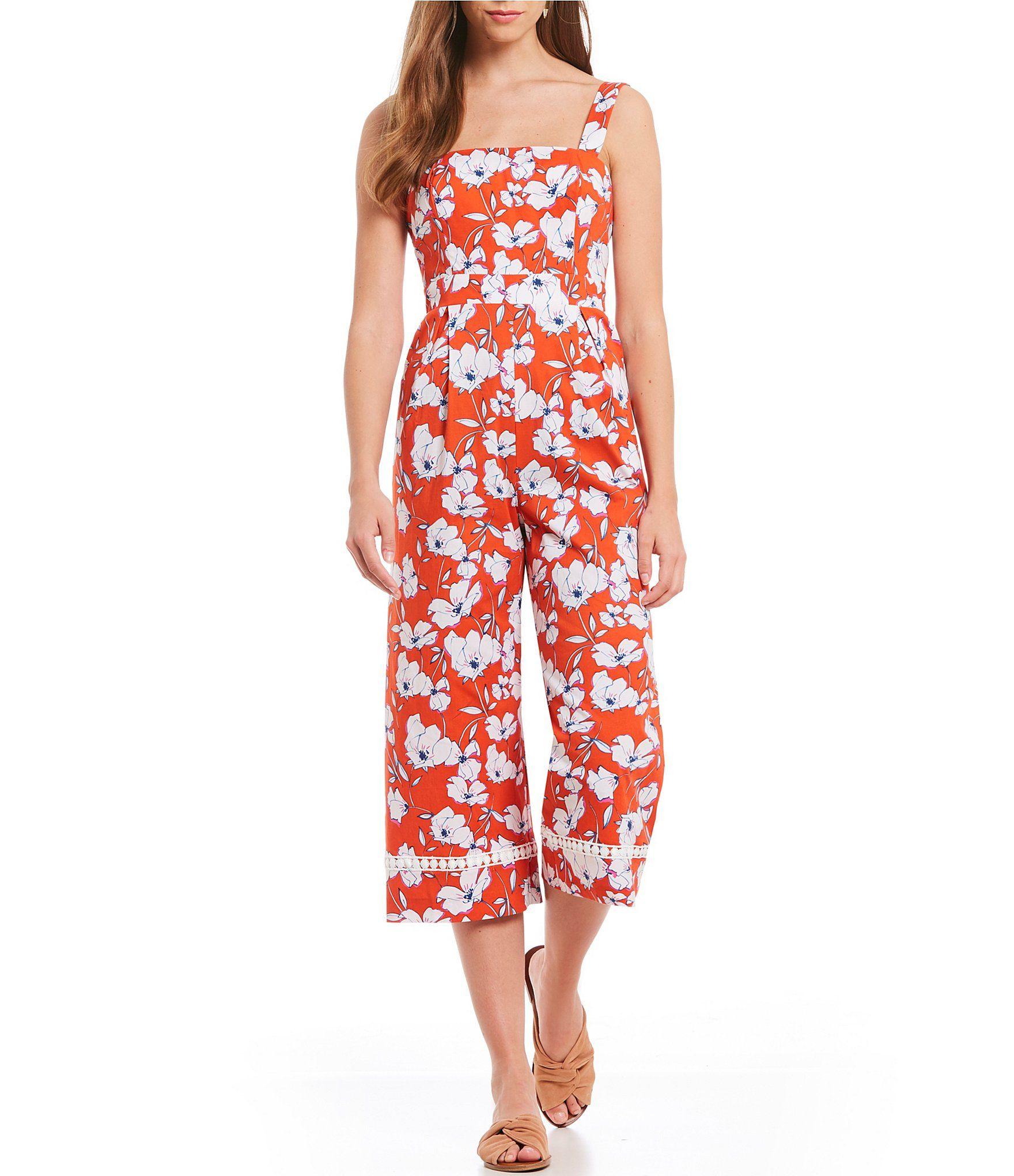 998136ce998 Eliza J Floral Print Culotte Jumpsuit  Dillards