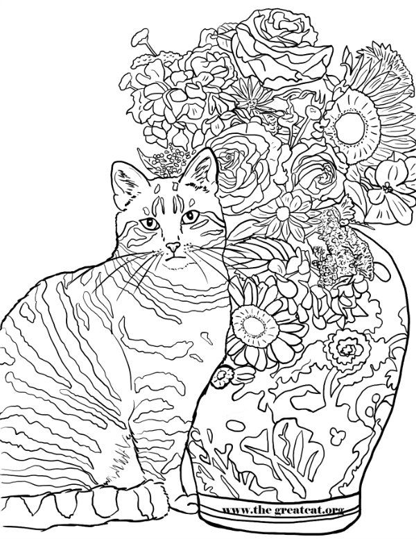 cats and flowers coloring book for cat lovers la vocelle - Cat Coloring Book