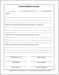 Behavior Contract Behavioral Management Contract  School Forms