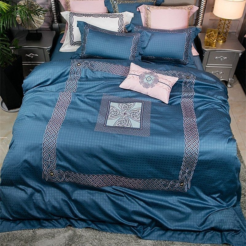 Cobalt Blue Embroidered Plaid Print Border Simply Shabby Chic Noble Excellence Villa Luxury Jacquard Satin Fu Blue Bedding Sets Plaid Bedding Blue Bedding
