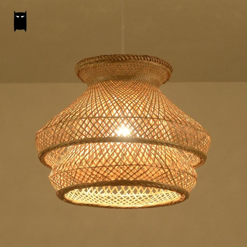 Bamboo wicker rattan shade chandelier light fixture japanese bamboo wicker rattan shade chandelier light fixture japanese vintage asian creative hanging ceiling lamp dining table mozeypictures Images