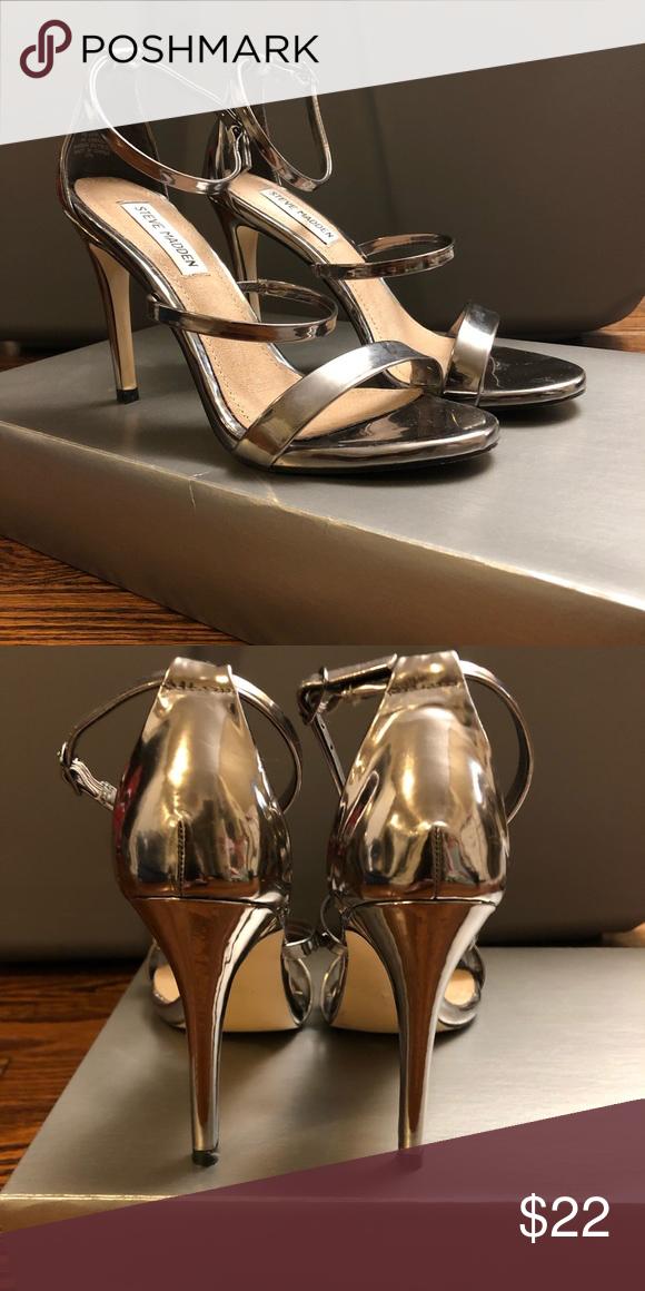 191220fae6f Strappy Steve Madden Stilettos Worn once! Super cute silver pewter metallic  stilettos with adjustable