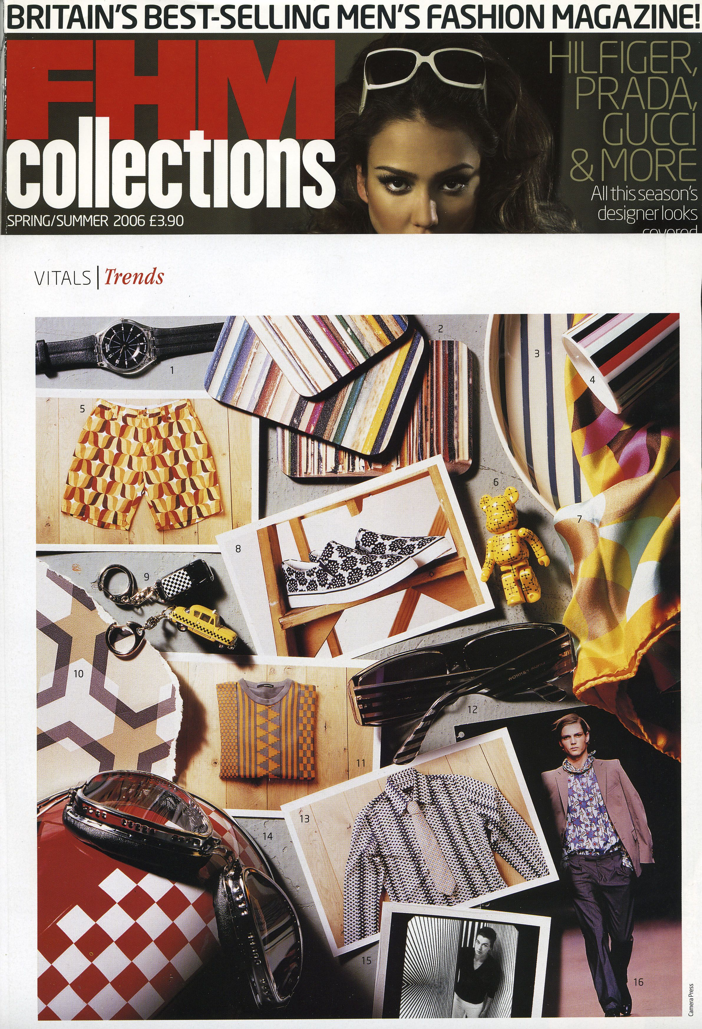 FHM Spring and Summer edition, Stacks and Stripes mats by Ella Doran