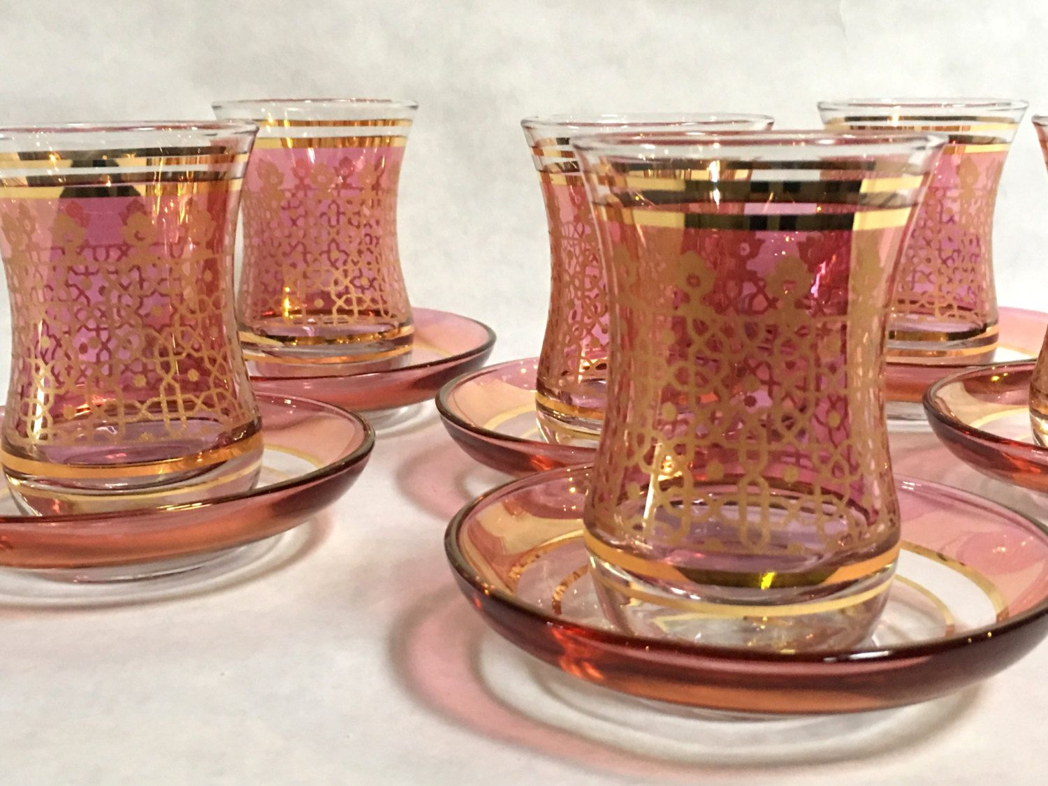 a7fed5ae234 Pink and Gold design Tea glass, Turkish tea set, Turkish Cups, Authentic  Turkish Tea Water, Hand-painted, Turkish coffee cups