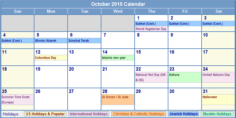 October 2015 Calendar Events - In this Post we're sharing latest Calendar Templates. Scroll Down ...