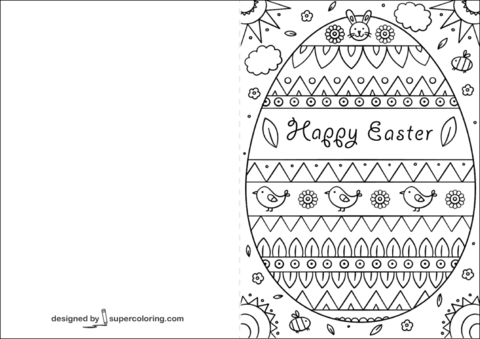 Happy Easter Card Coloring Page Easter Cards Printable Happy Easter Card Easter Coloring Pages Printable
