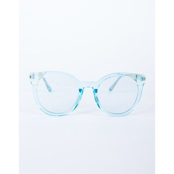 Colored Frame Transparent Glasses (36 PEN) ❤ liked on Polyvore featuring accessories, eyewear, eyeglasses, turquoise, transparent glasses, retro glasses, clear eyeglasses, retro eyeglasses and clear eyewear