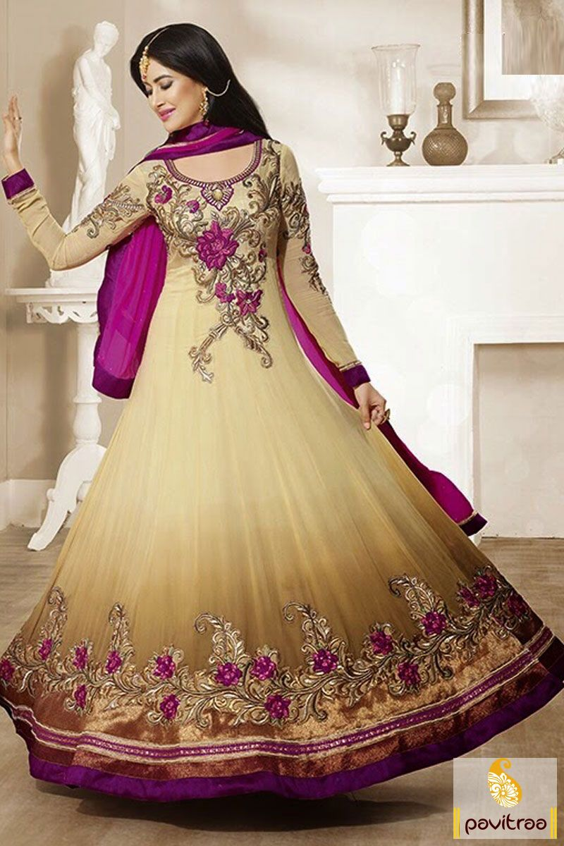 Pavitraa beige with dark pink floor length anarkali dress