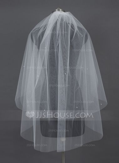 Two-tier Fingertip Bridal Veils With Cut Edge (006030989) - JJsHouse