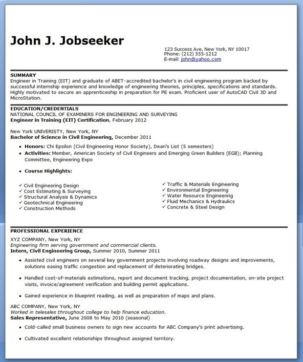 Civil Engineer Resume Sample (Entry-Level) Creative Resume - construction resume objective