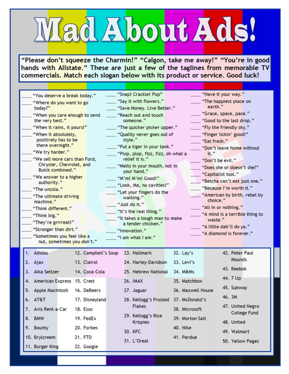Mad About Ads - TV Slogans Printable Matching Game - TV ...
