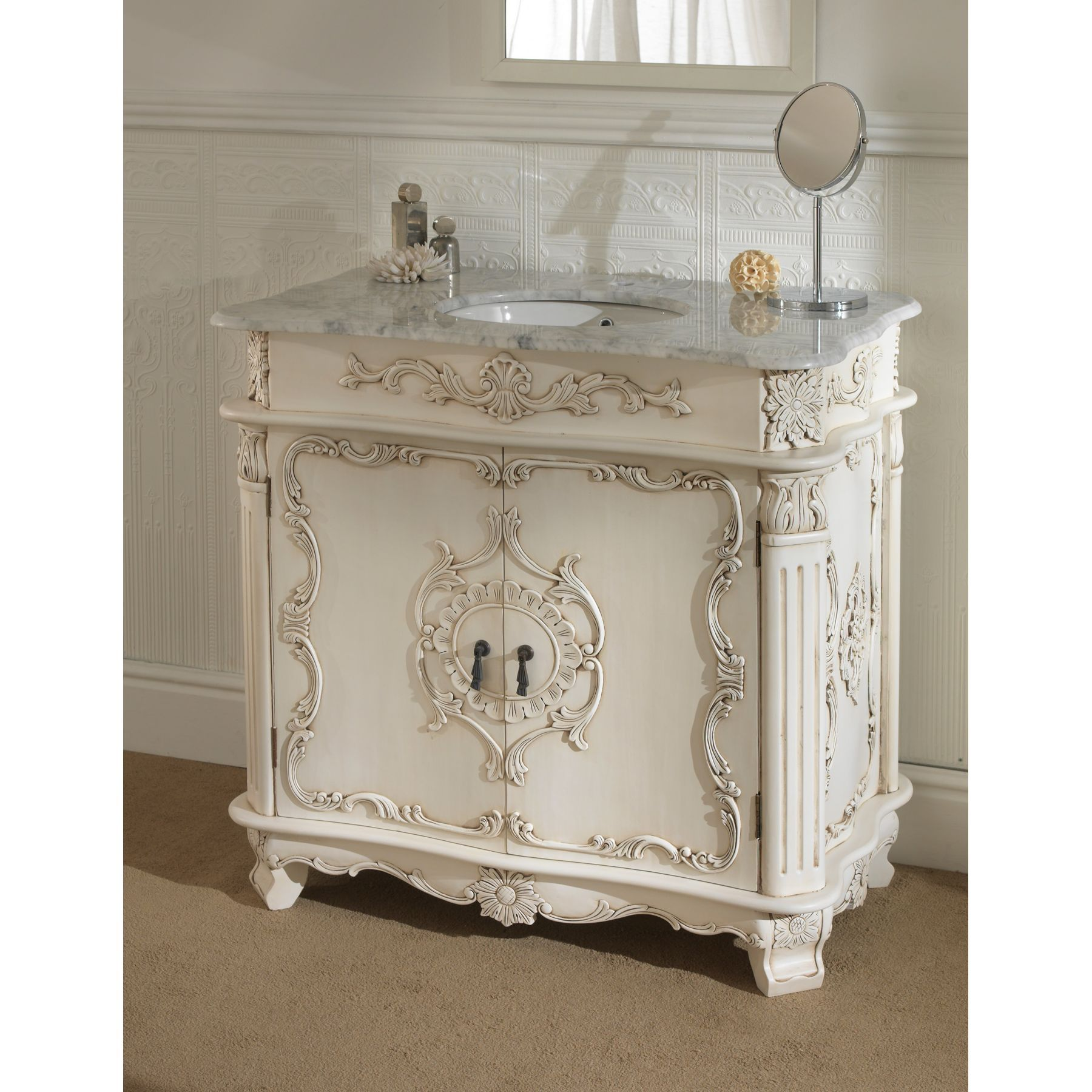 French Country Bathroom Vanities: A Home Office Furnished With White French Provincial