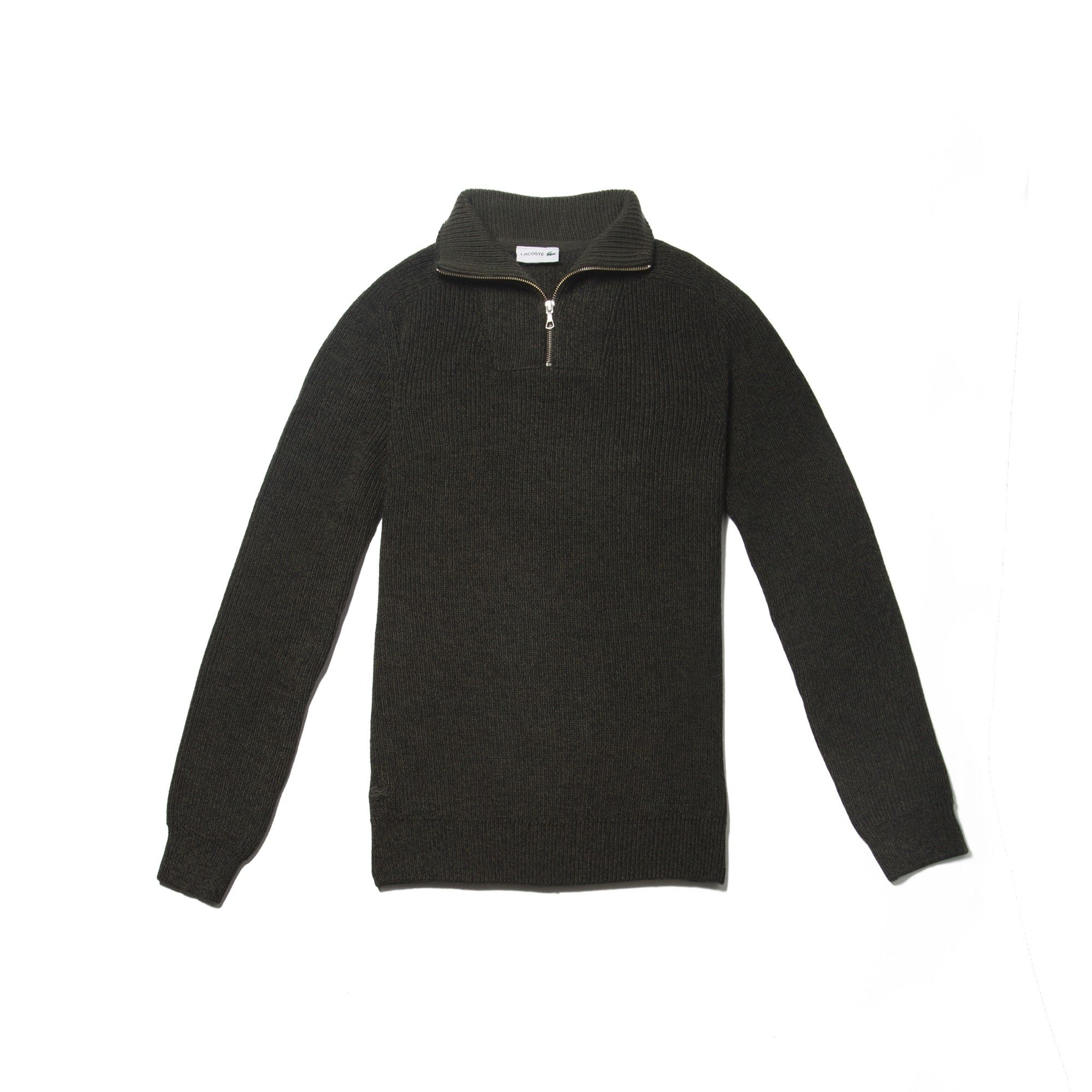 8904d8feea LACOSTE Men's Zippered Stand-Up Collar Ribbed Wool Sweater - SHERWOOD  MOULINE/SHERWOODSHERWOOD MOULINE/SHERW. #lacoste #cloth #