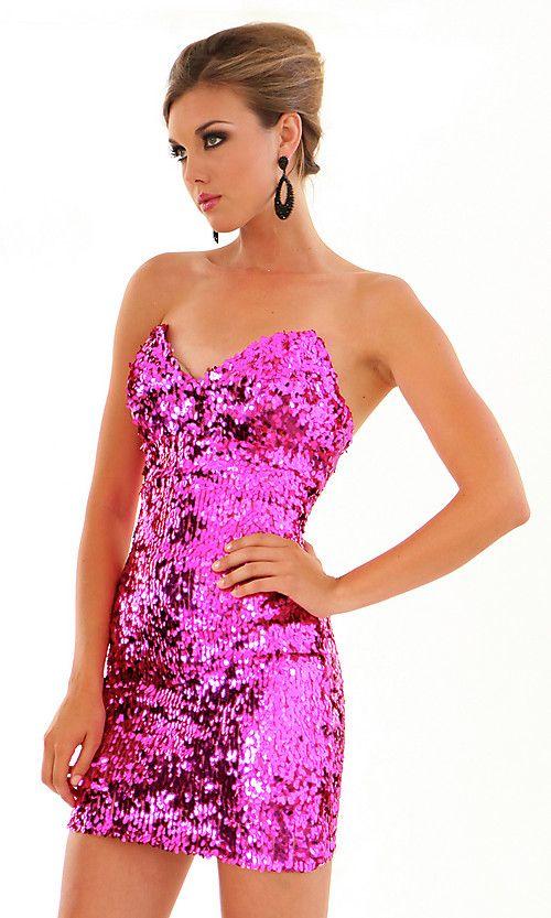 Strapless Sequin Atria Short Prom Dress | Homecoming\\formal dresses ...
