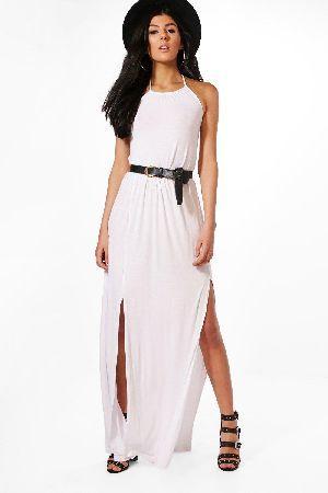 57f8eb00f7f  boohoo High Neck Split Front Maxi Dress - white DZZ50109  Rebecca High  Neck Split