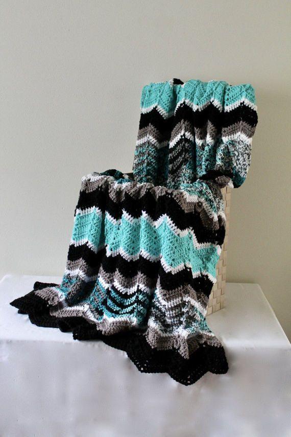 Crochet Afghan Cozy Throw Afghan Handmade Ripple Afghan Black Grey ...