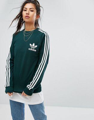 abfe1a901c0e0 Camiseta de piqué de manga larga en verde de adidas Originals
