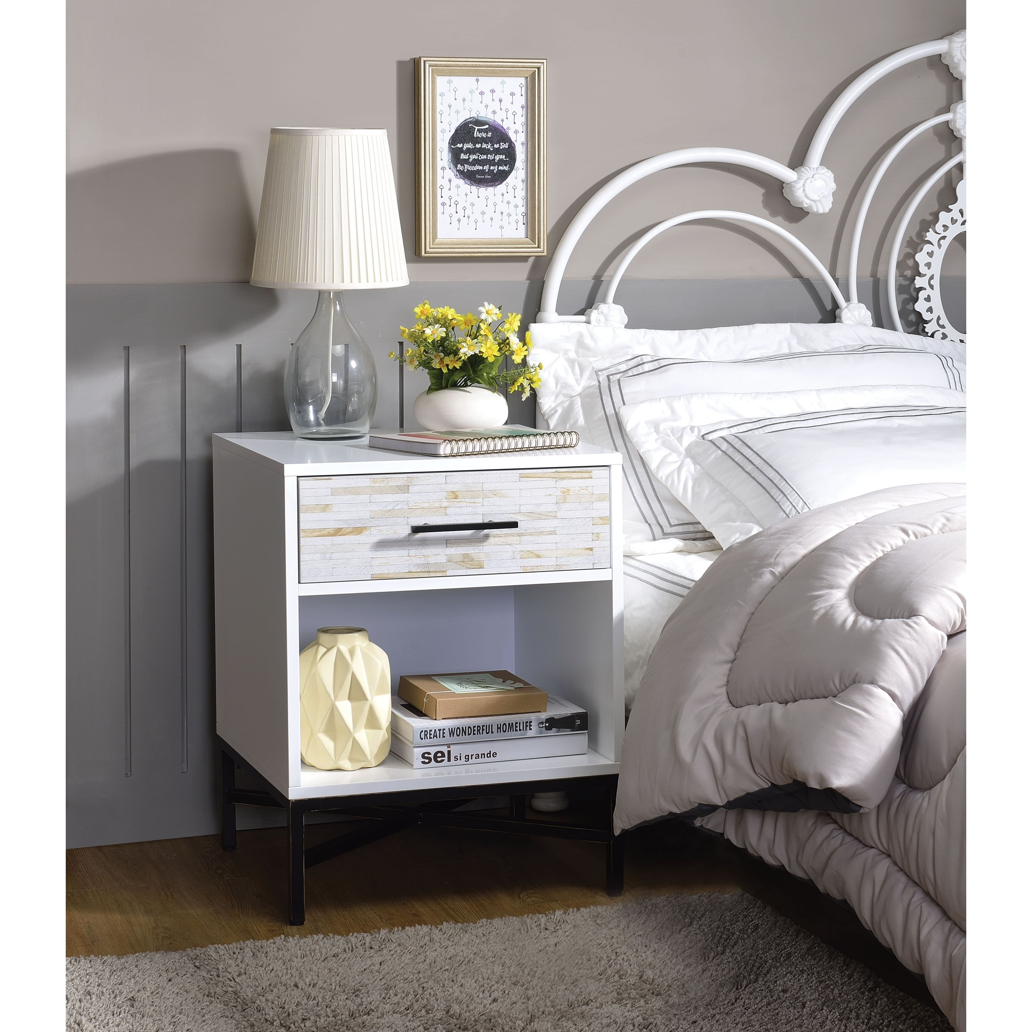 Wood & Metal Nightstand With One Drawer And One Open Shelf