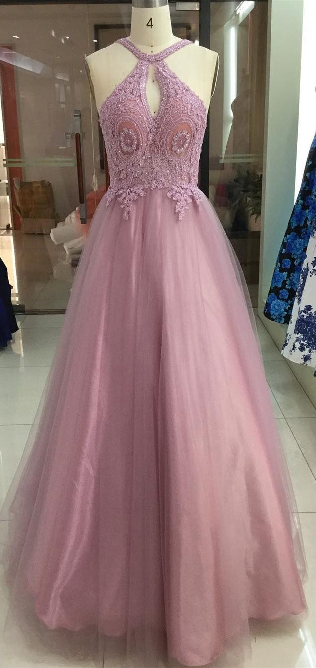Dusty rose halter lace applique tulle prom dresses backless long
