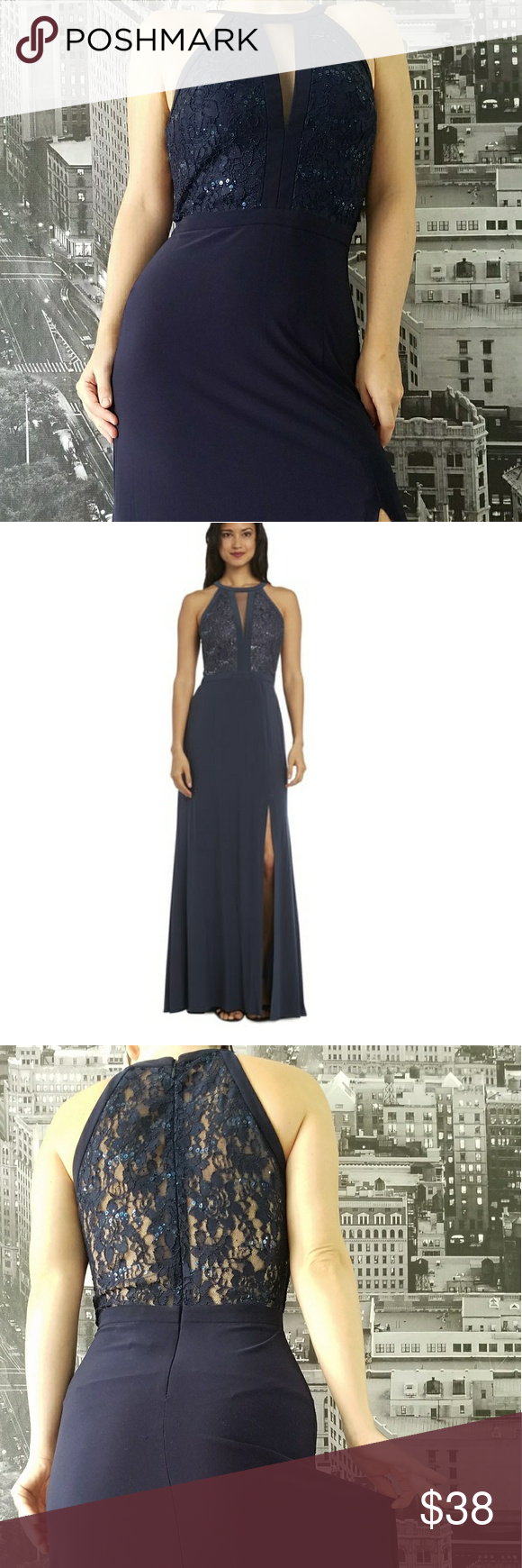 Nightway Lace Halter Gown Feel Elegant In This Lace Dress By
