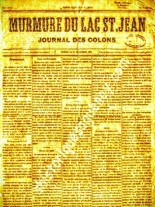 Journal Murmure du Lac Saint-Jean parue en 187?