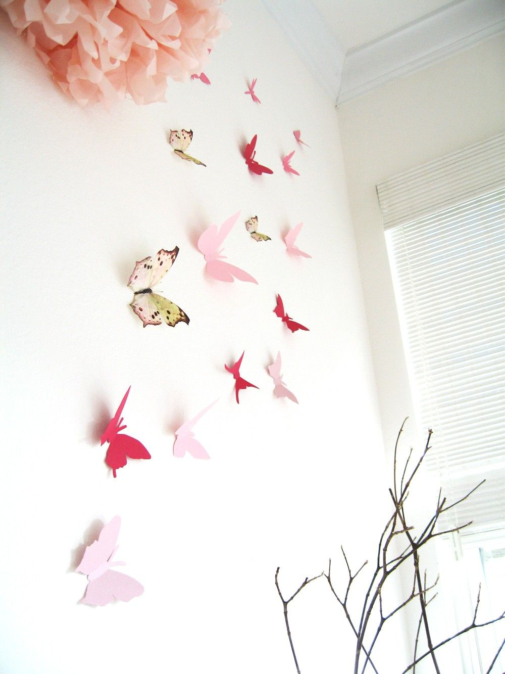 Multi colored cardstock paper - 15 3d Butterfly Wall Art Assorted Multi Color Butterflies Pink Red Paper Wall Decor Nursery Baby Shower Girls Room Cardstock