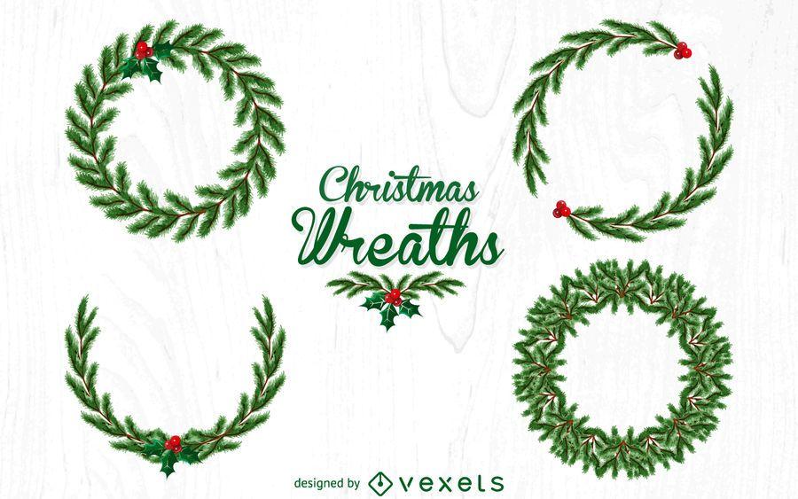 Photo of Christmas wreath illustration set #AD , #Sponsored, #AD, #wreath, #illustration,…