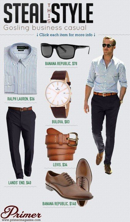 Steal This Style Gosling Business Casual With Images Business