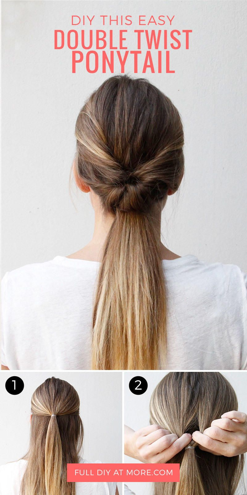 this double-twist ponytail is the perfect five-minute