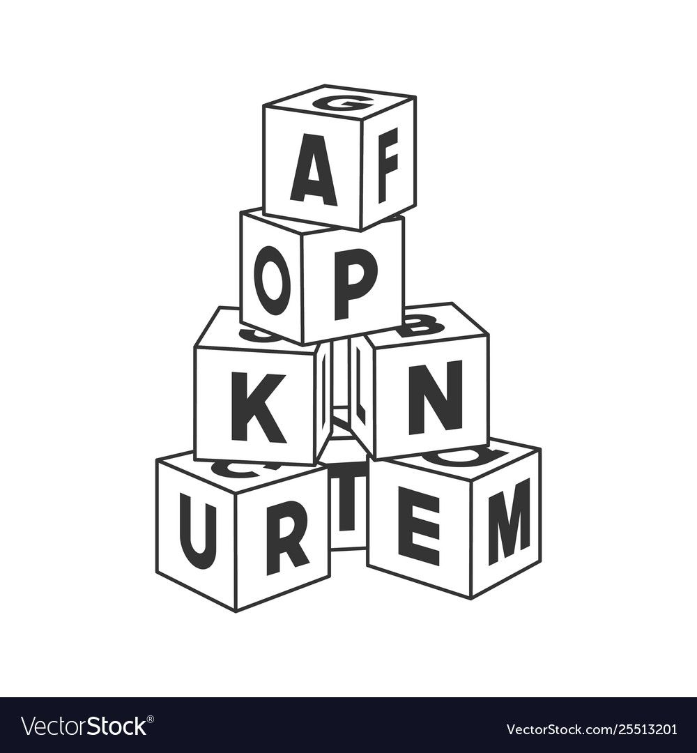 Outline Block Building Tower With Letters Vector Image On Vectorstock Baby Illustration Text Set Tooth Outline