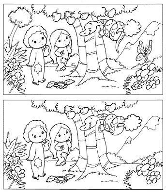 Encontrar las 5 diferencias Adán y Eva | Enseñanza | Pinterest ...