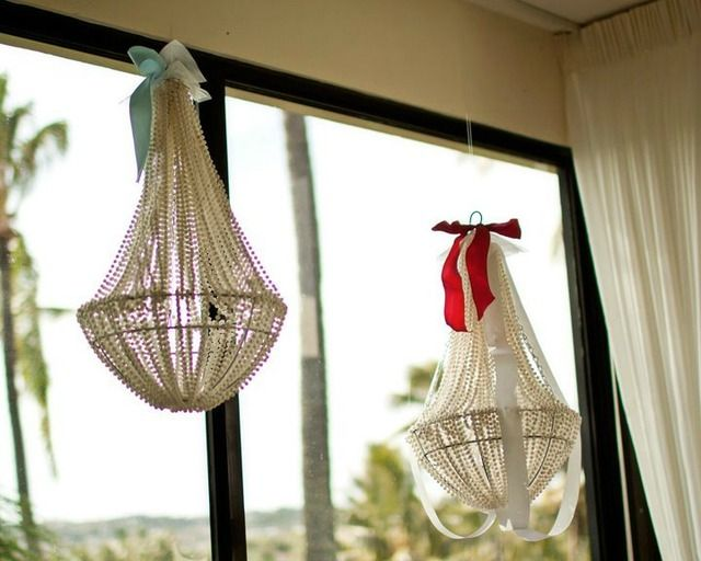 creative party idea:  chandelier made from hanging basket planter and pearl beads!