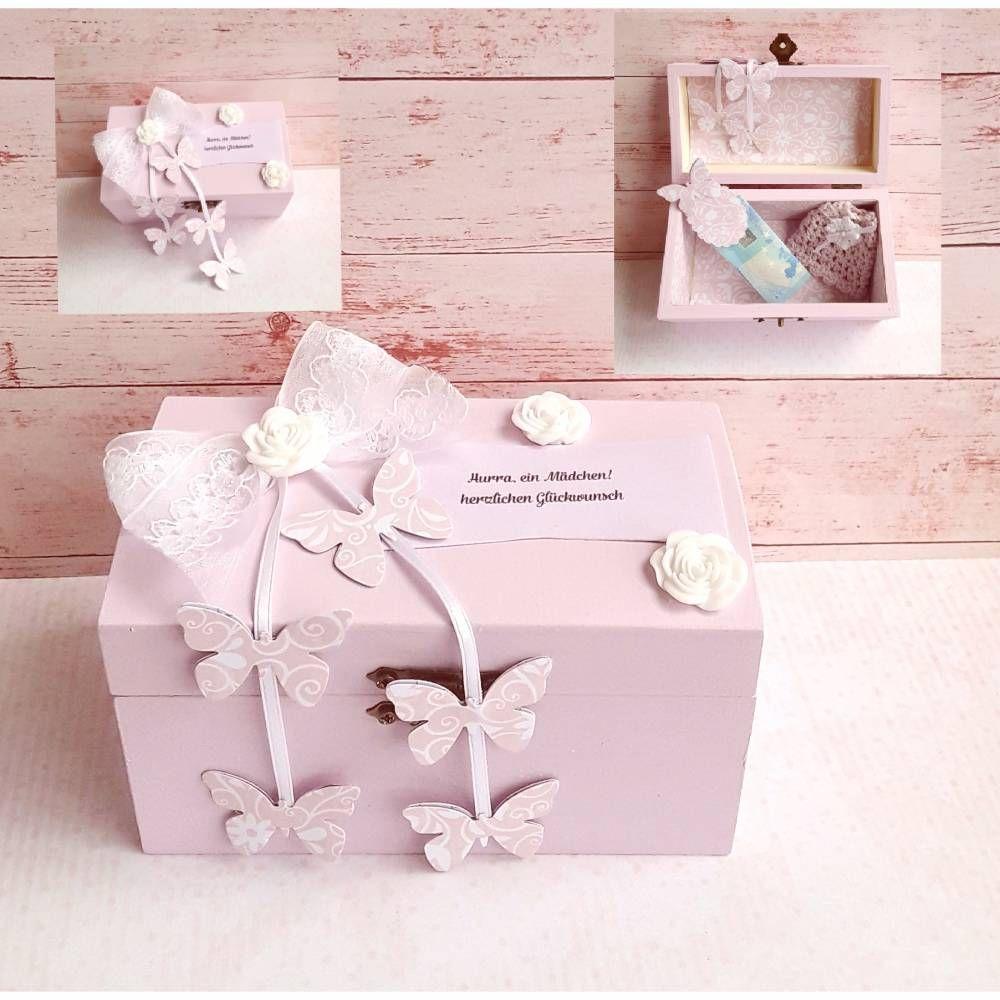 Geschenkbox Geldgeschenk Kissenschachtel rosa Geburt Taufe Mädchen Schmetterling