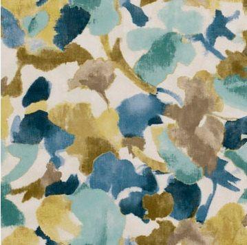 Indigo Blue Upholstery Fabric Modern Aqua Blue Floral Fabric By