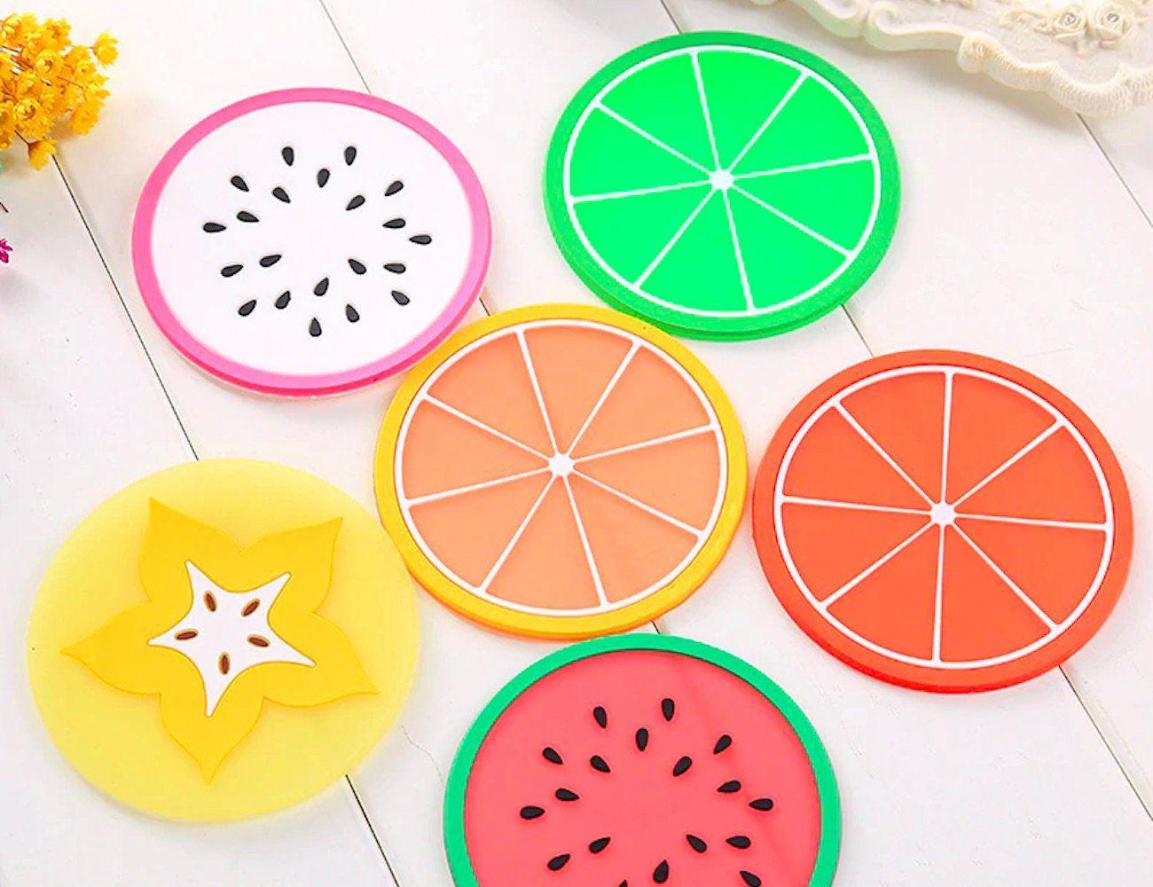 Kawaii Assorted Fruit Silicone Coasters are a splash of