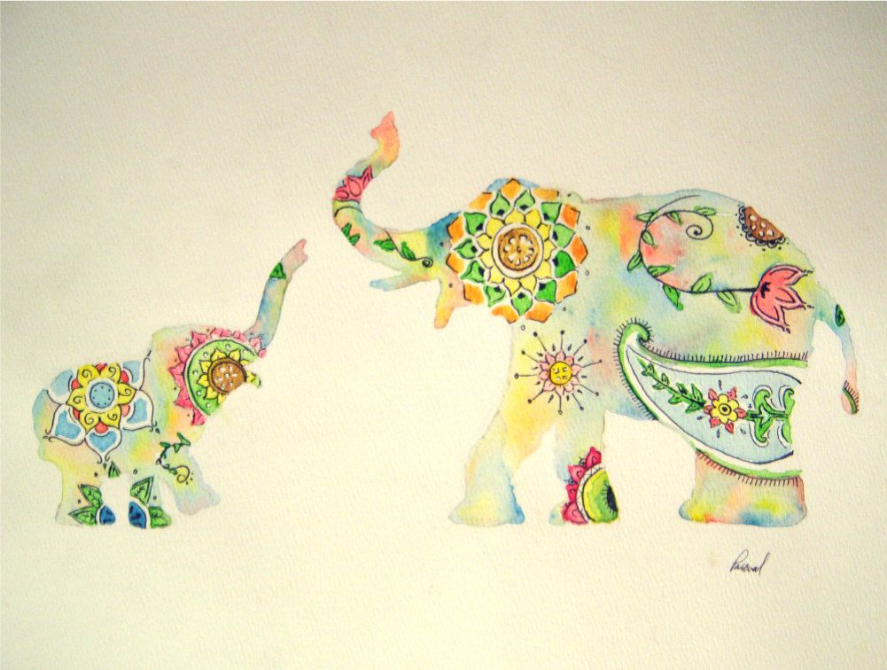 Mehndi Elephant Coloring Pages : Elephant watercolor painting colorful design print indian style