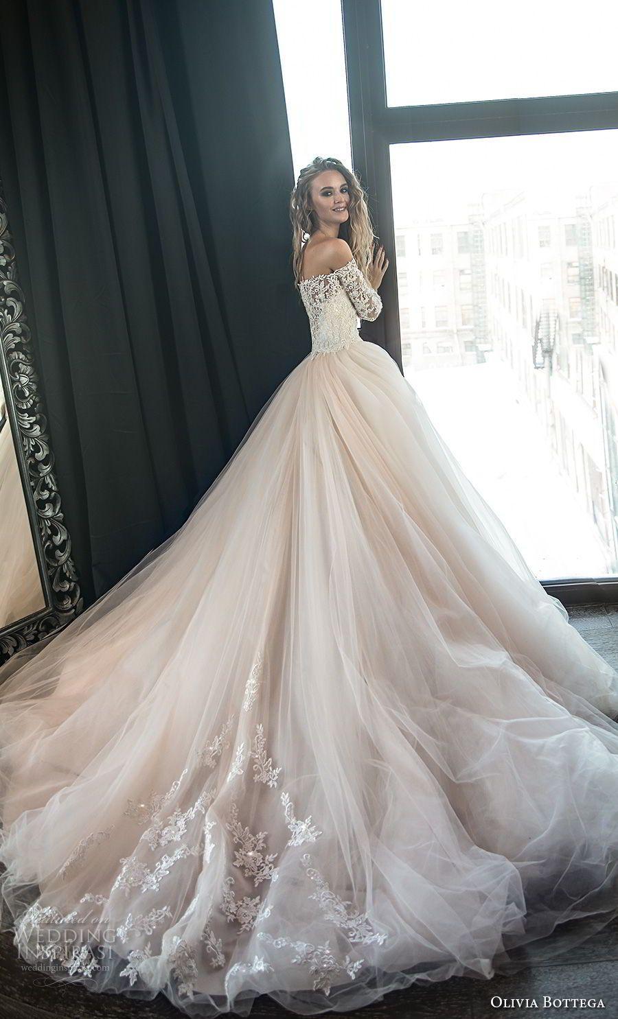 olivia bottega 2018 bridal long sleeves off the shoulder sweetheart  neckline heavily embellished bodice princess romantic blush ball gown  wedding dress ... 20ad307ca9f0