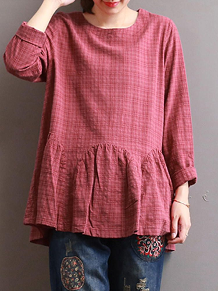 61f1f3cf63b35d Women Check Long Sleeve Ruffled Loose Baggy Blouse at Banggood