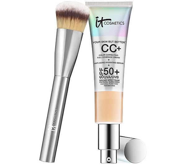 Beauty Blender Or Brush For Full Coverage: IT Cosmetics Full Coverage Physical SPF 50 CC Cream With