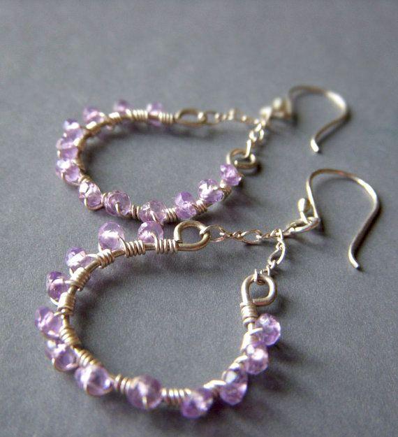 Amethyst Hoop Earrings on Sterling . Hand Forged Wirewrapped Genuine Gemstone . Lavender Mist