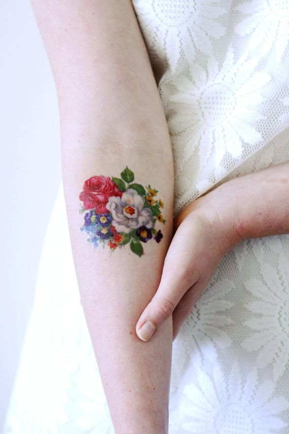 Round Floral Temporary Tattoo Bohemian Temporary Tattoo Flower