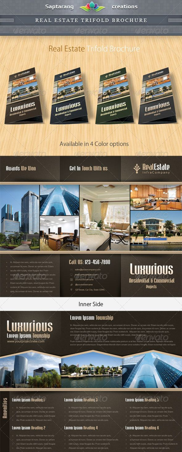 Real Estate Trifold Brochure Colorful Brochure Template By - Real estate tri fold brochure template